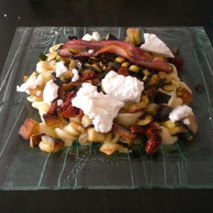 orechiette aux aubergines, courgette, tomates séchées
