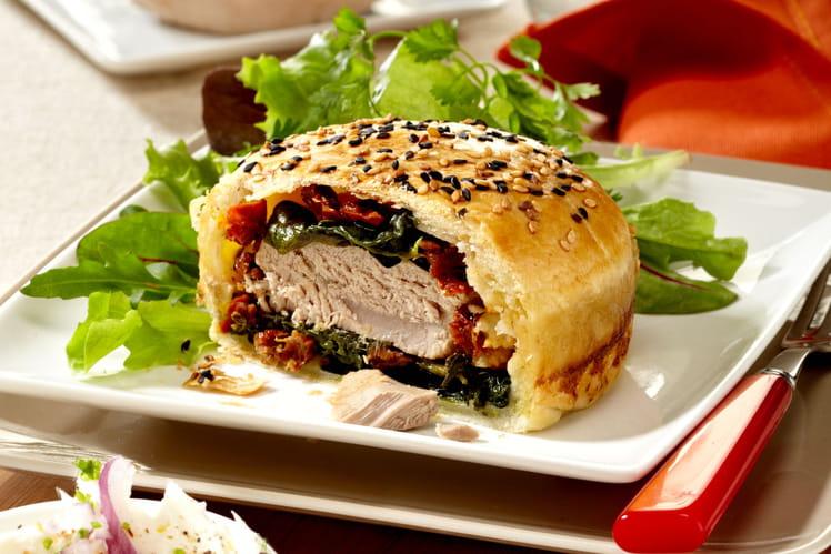 Burger de thon à la mozzarella et épinards