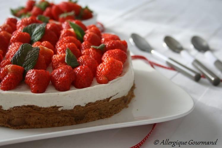 Cheesecake à ma façon, aux fraises, sans œufs ni gluten.