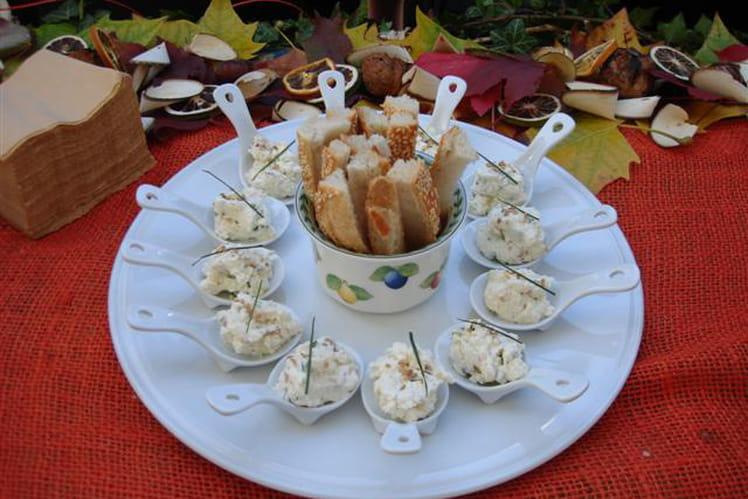 Cuillères gourmandes aux rillettes de Bray Picard, mouillettes de pain au sésame