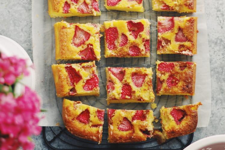 Gâteau amandes et fraises