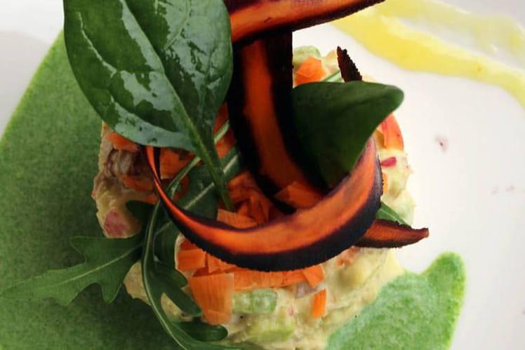 Salade de tourteau, épinard crémé