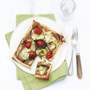 tarte fine à la moutarde de meaux et aux légumes d'été