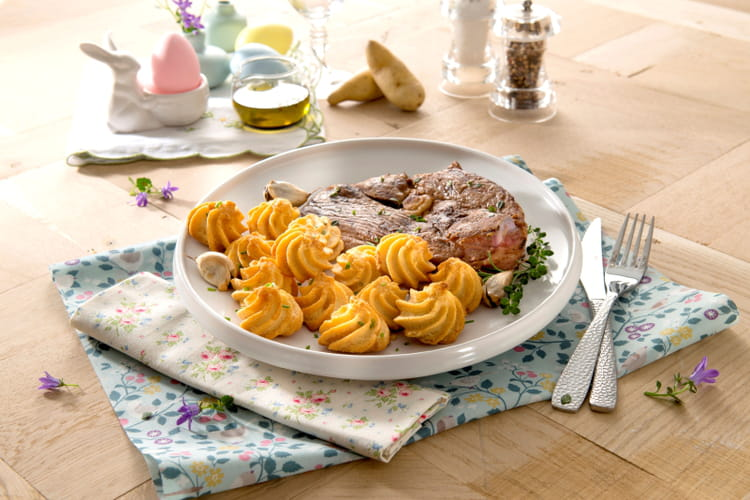 Gigot d'agneau poêlé & pommes duchesse de Ratte du Touquet