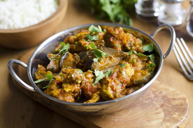 Curry d'aubergines et pois chiches