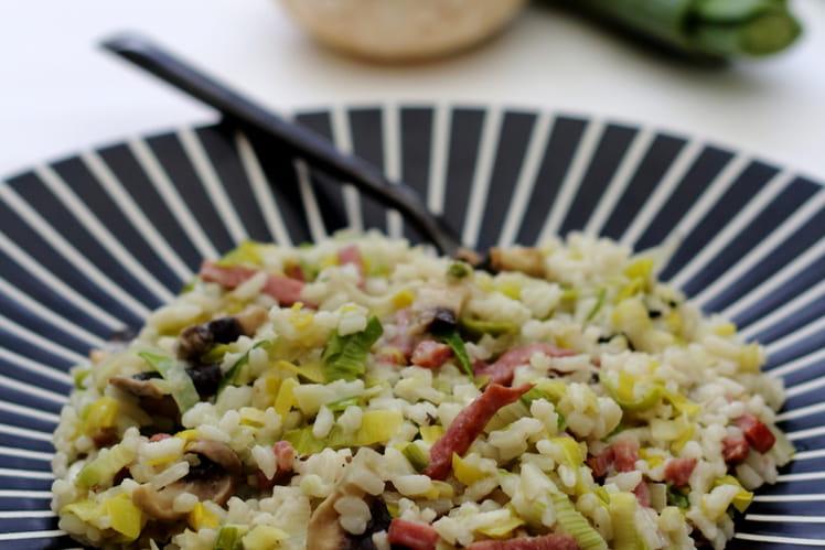 Riz poélé aux poireaux, champignons et bacon