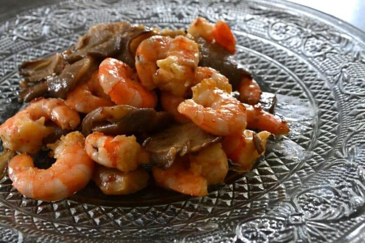 Crevettes sautées aux pleurotes