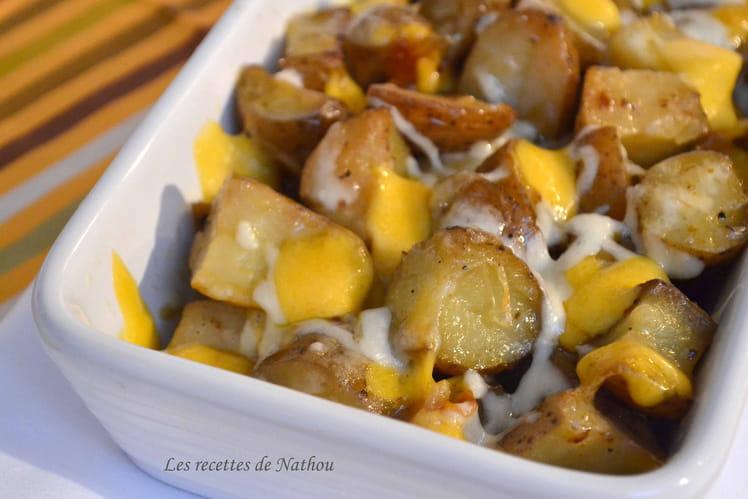Pommes de terre grenailles rôties à la mozzarella et cheddar
