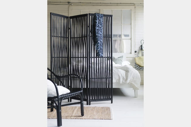 paravent en rotin et bambou noir nipprig ikea. Black Bedroom Furniture Sets. Home Design Ideas