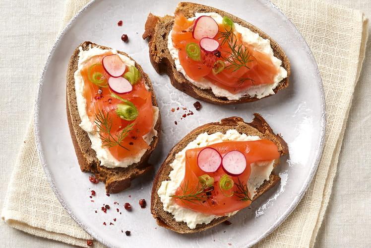 Tartine saumon et Carré Frais