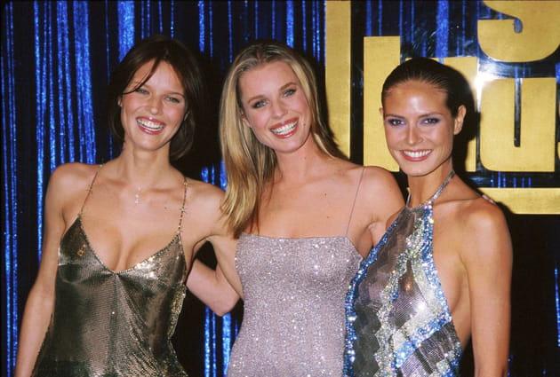 Eva Herzigova, Rebecca Rominj et Heidi Klum le 10février 1999