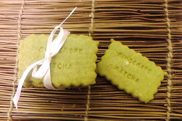 Sablés au thé matcha et gingembre confit