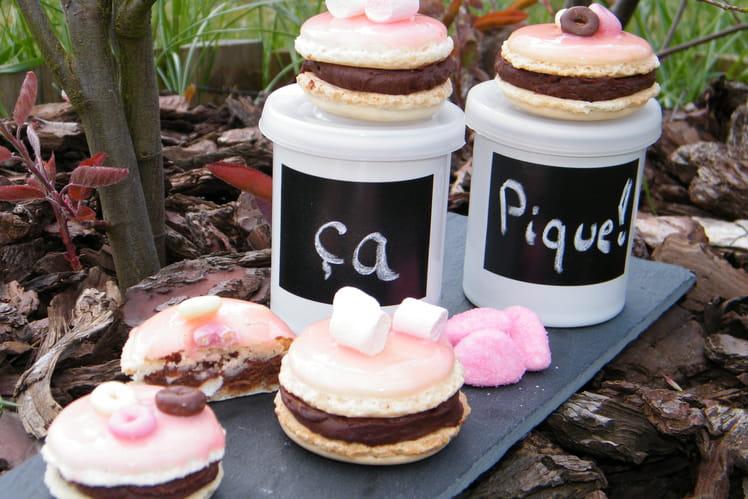 Macarons chocolat et Tagada pink