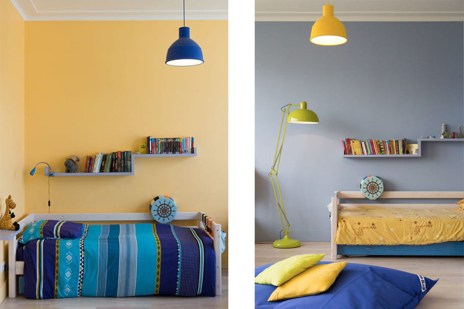 Une seule grande chambre pour les enfants for Choix des couleurs pour une chambre