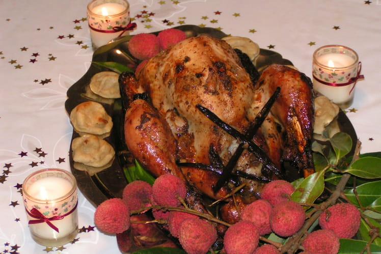 Dinde de Noël aux litchis et son jus à la vanille