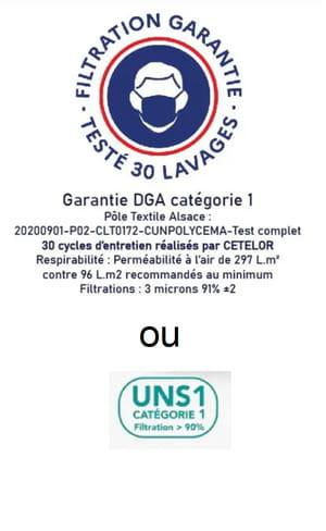 Logo masque de catégorie 1 ou UNS1