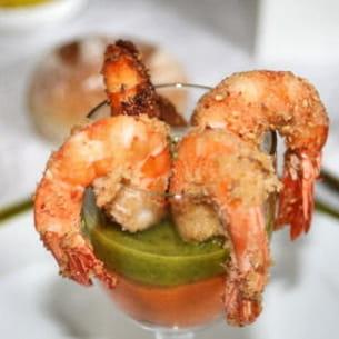 crevettes aux 2 coulis