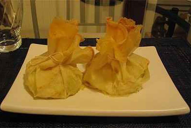 Aumonière de crevettes sur lit de mangue