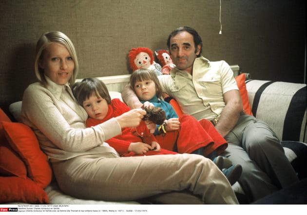 Avec sa femme Ulla Thorsell et leurs enfants Katia et Misha, en 1974