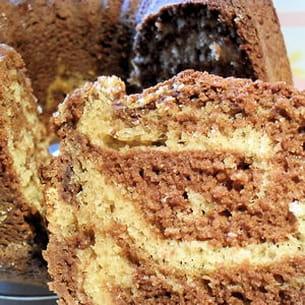 marbré au yaourt chocolat noir et café