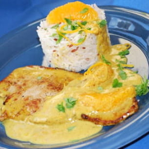 escalopes de veau à la crème, au curry et à l'orange