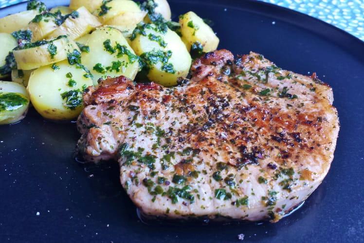 Côtes de porc ail et coriandre