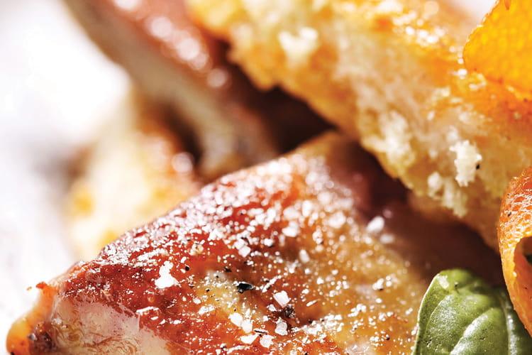 Pain perdu de brioche et escalope de foie gras
