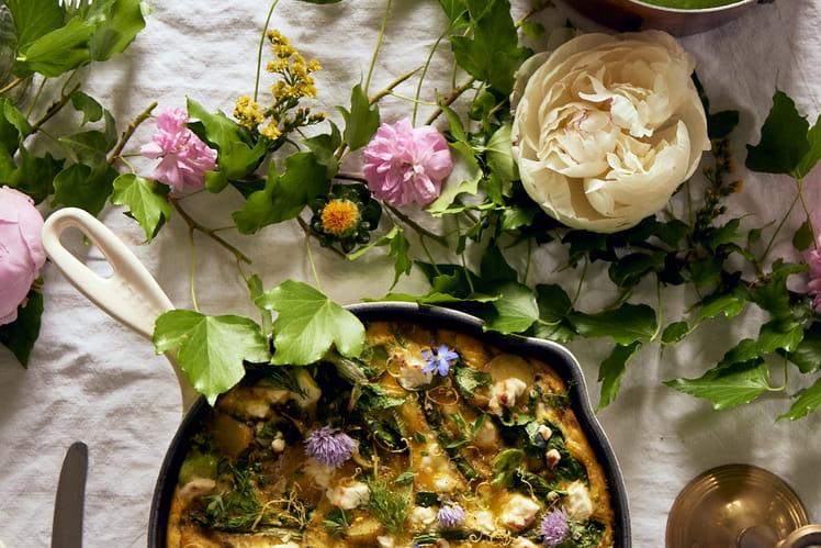 Frittata aux épinards et fleurs