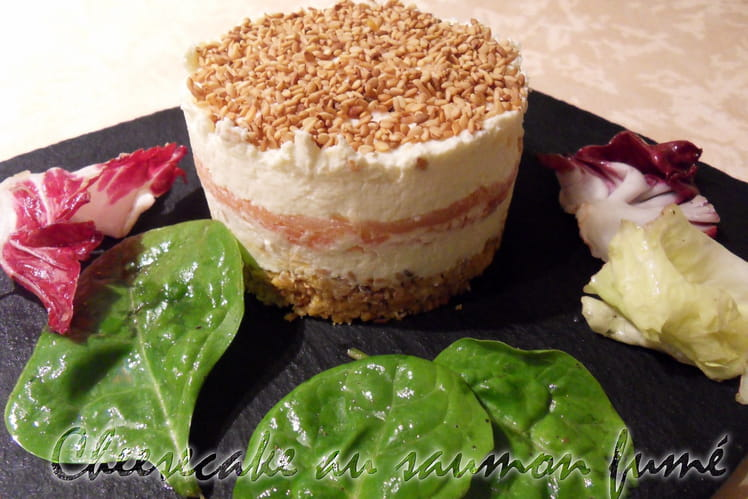 Cheesecake au saumon fumé, Tuc et parmesan