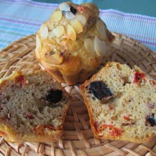 muffins aux tomates séchées, thon et olives