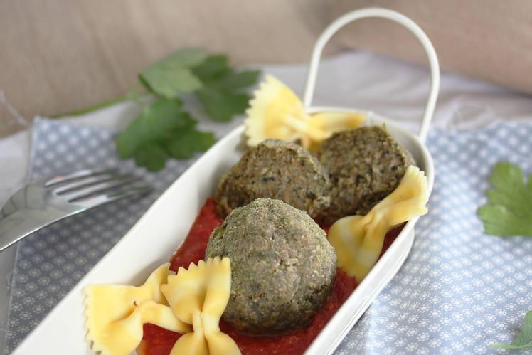 Boulettes épinard, viande hachée, son de blé ou d'avoine