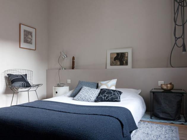 Chambre bleue-grise