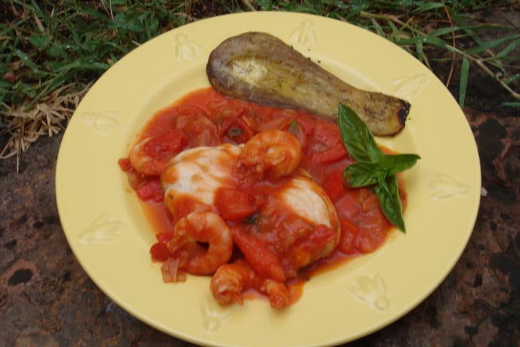 Lotte à la sauce tomate et son aubergine grillée