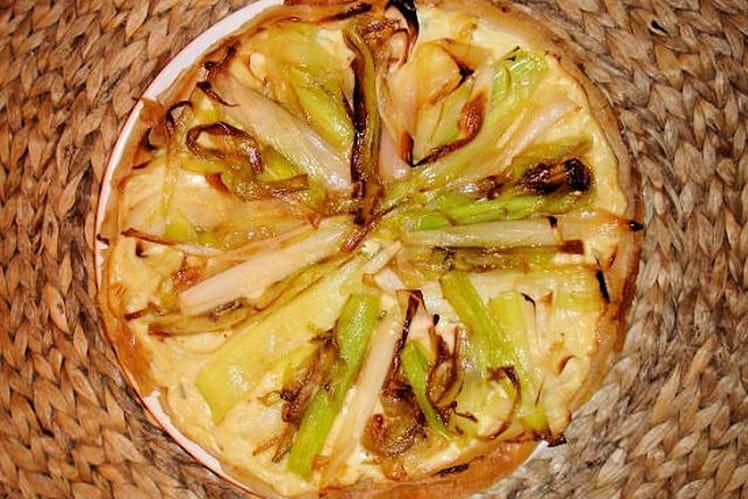 Tarte légère aux poireaux, sauge et fromage frais