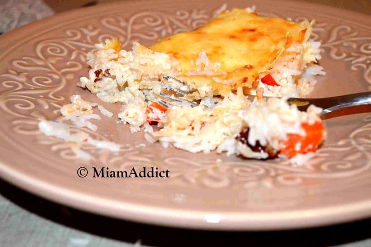 Gratin de riz tomates séchées crème de parmesan