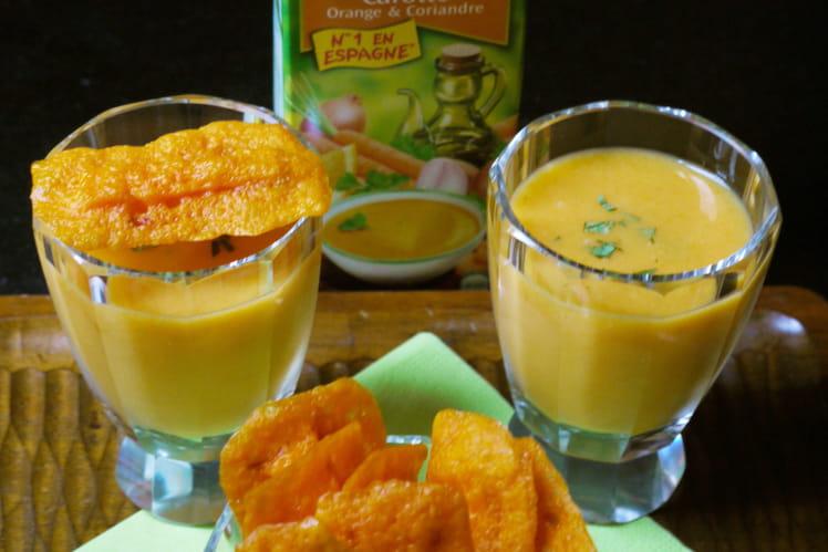 recette de soupe froide de carotte orange coriandre alvalle et ses chips mimolette carotte. Black Bedroom Furniture Sets. Home Design Ideas