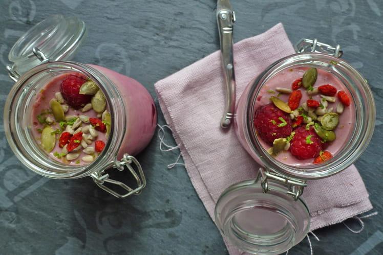 Crème aux framboises fraîches vegan et sans gluten