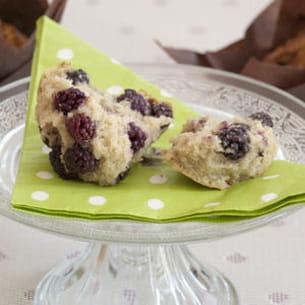muffins sans oeuf, sans lactose et sans gluten à la mûre
