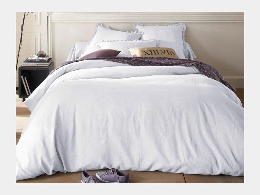 linge de lit en lin blanc je veux le m me la maison une chambre la d co naturelle. Black Bedroom Furniture Sets. Home Design Ideas