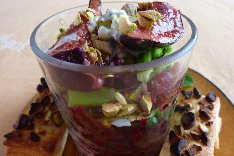 Verrine potagère et ses croustilles aux pistaches