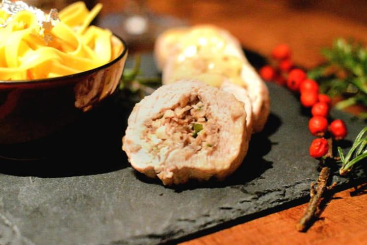 Ballottines de dinde, farce champignons et foie gras