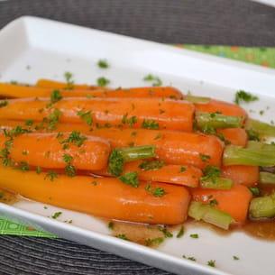 carottes fondantes, sauce au vinaigre balsamique