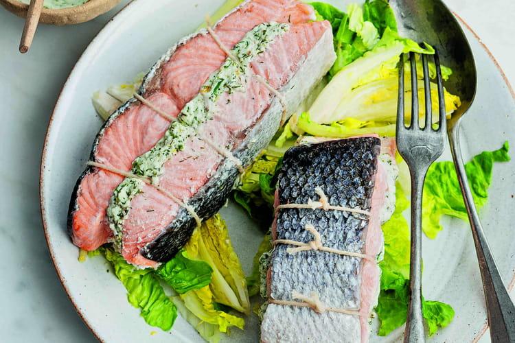 Rôti de saumon, chèvre frais et citron confit