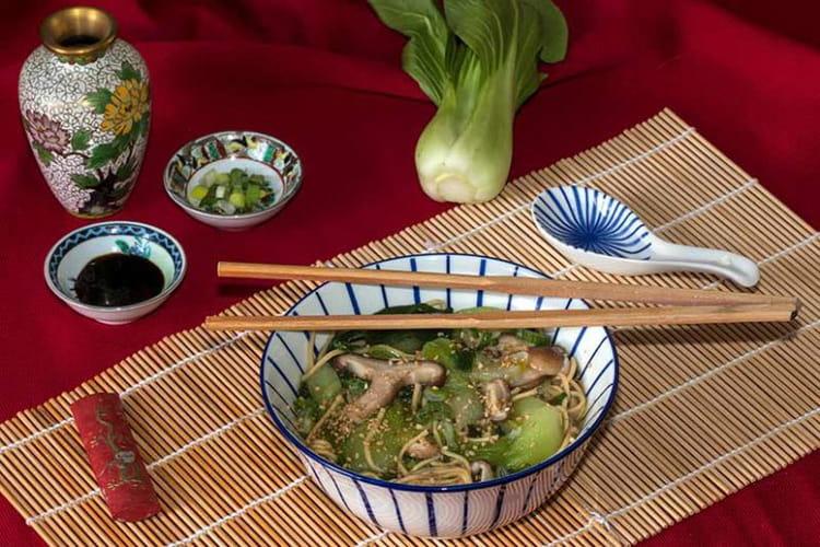 Soupe au chou Pak choï (ou Bok choy) aux Shiitaké