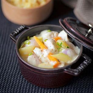 blanquette de volaille, légumes d'automne et riz pilaf de guillaume delage