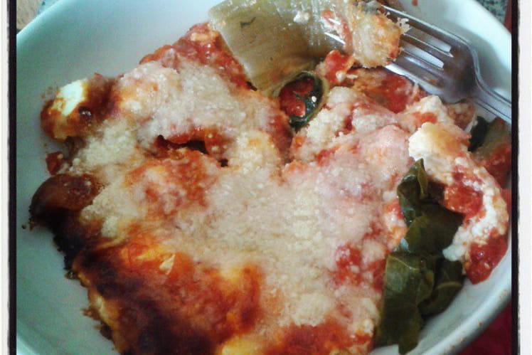 Gratin de côtes de blettes sauce tomate et feta gratinée au parmesan