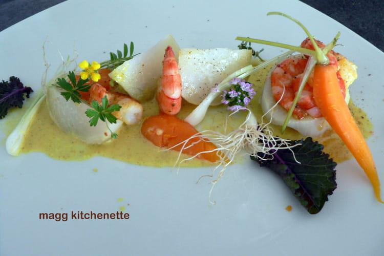 Crevettes, choux rave et carottes au curry doux
