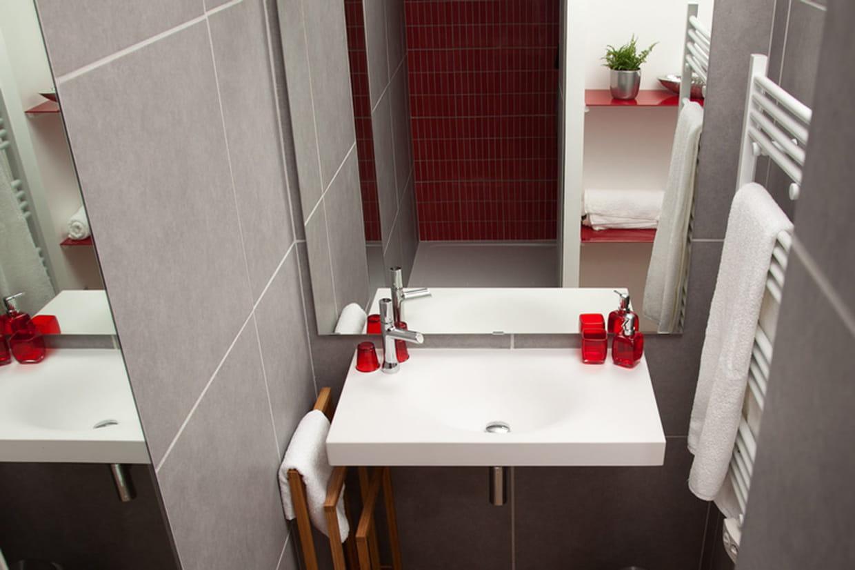 Une salle de bain en rouge et gris - Salle de bain rouge et gris ...