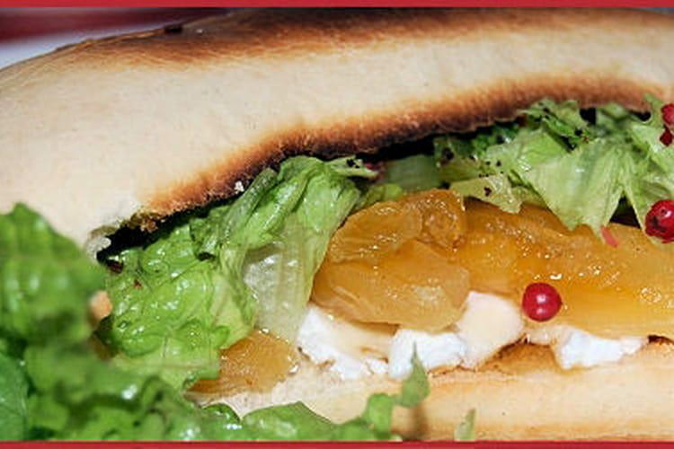 Sandwich chèvre frais, abricots, raisins et miel