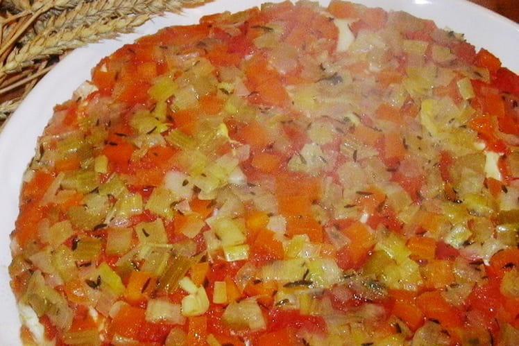 Tarte renversée à la tomate et brunoise de légumes
